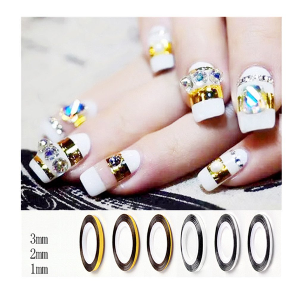 Amazon Born Pretty Gold 3pcsset Nail Art Striping Tape Nail