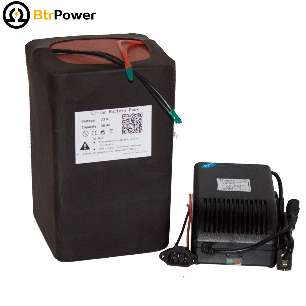 BtrPower 72V 30Ah Ebike Battery Lithium Ion Battery Pack for Rechargeable 2200W Electric Bicycle Scooter 84V 5ACharger+50A BMS