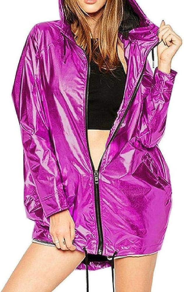 NOBRAND Chaqueta de Bombardero de Color metálico Chaquetas Impermeables con Cremallera 2020 Nuevas Chaquetas para Mujer Ropa de Abrigo con Capucha de Primavera para Mujer