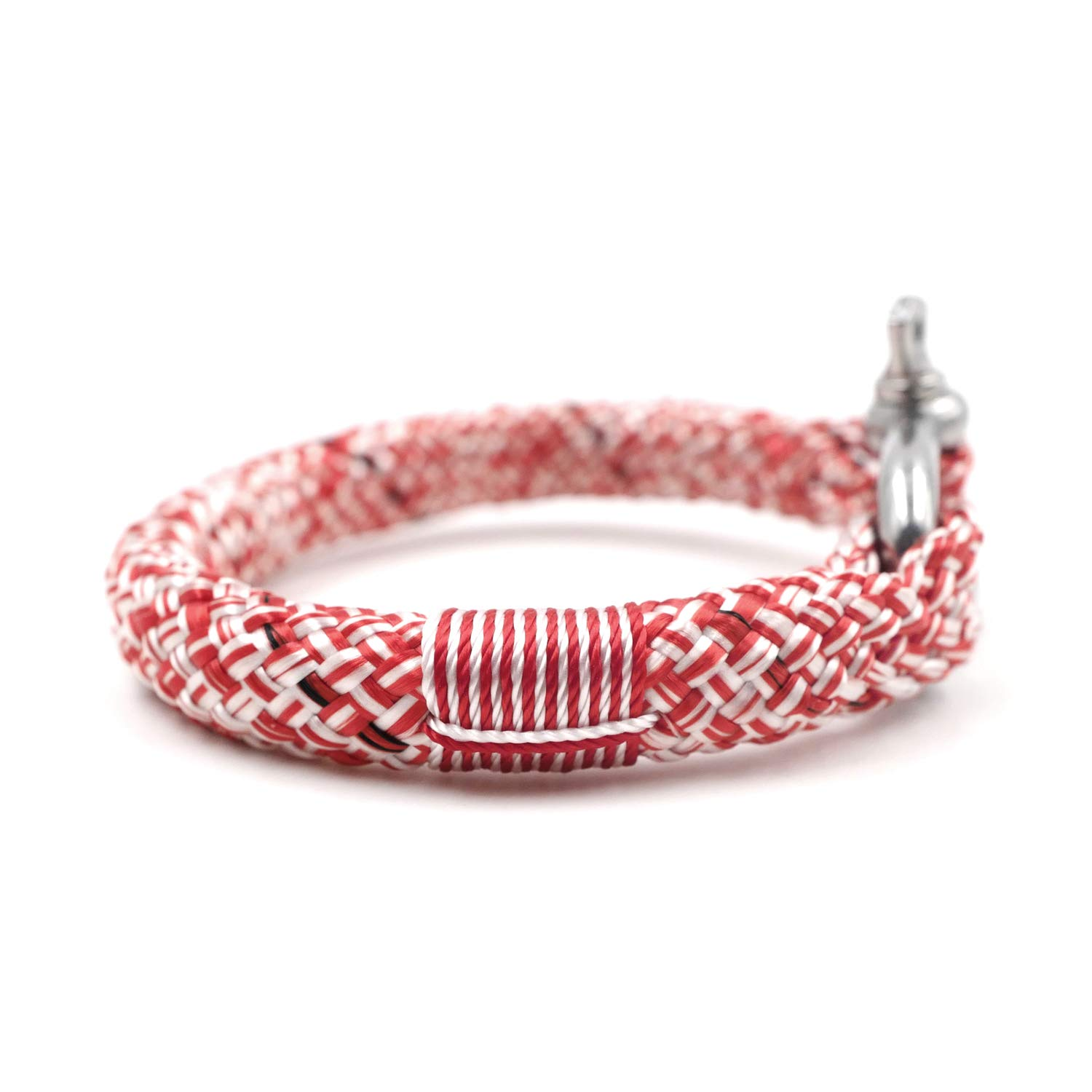 TTHER Nautical Rope - Red White BRT-N526 Hand-Made Nautical Braided Bracelet Yachting Rope Military Paracord Bracelet Wristband with D-Shackle by TTHER