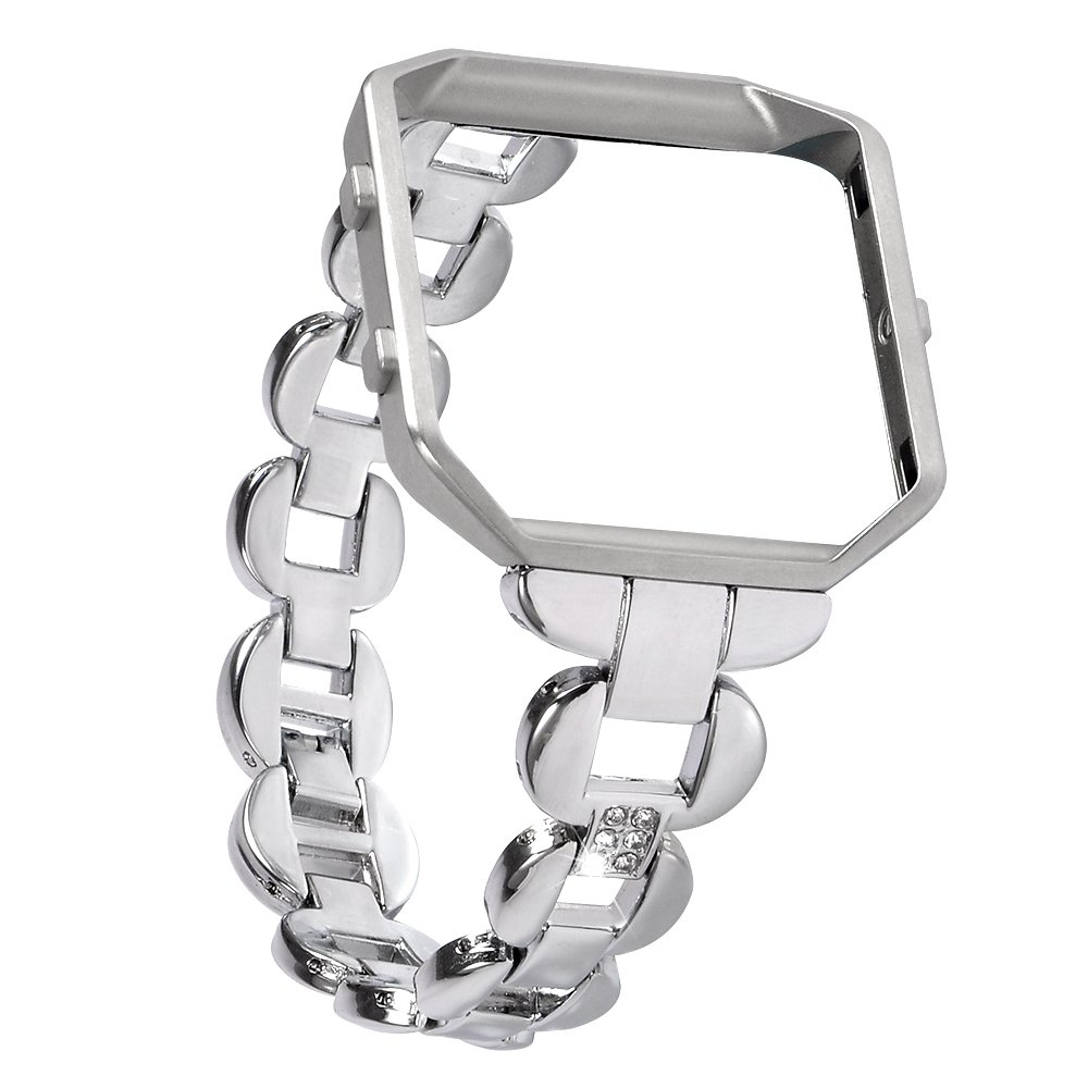 Lwsengme Fitbit Blaze Bands for Men Women, Stainless Steel Bands With Rhinestone & Metal Fitbit Blaze Frame, Watch Accessory Bracelet for Fitbit Blaze