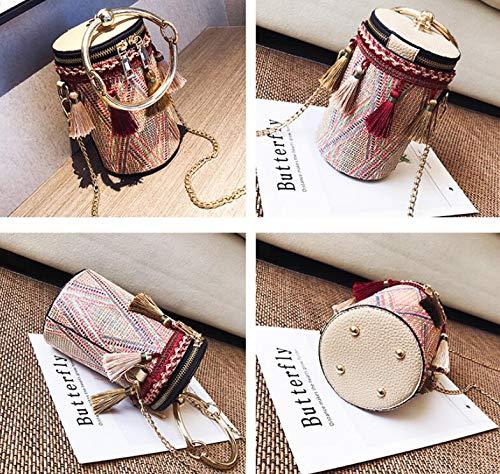 Borsa borse paglia tracolla secchiello a portatile frange retro Red tracolla per catena a a a con Borsa Borsa di AHBqnxwZ