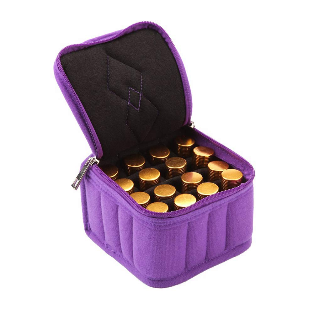 Essential Oil Storage Bag, 16 Compartments 5-15 ml Bottles Organizer Case for Cosmetics Nail Polish Holder Display Organizer Travel Carrying (Purple)