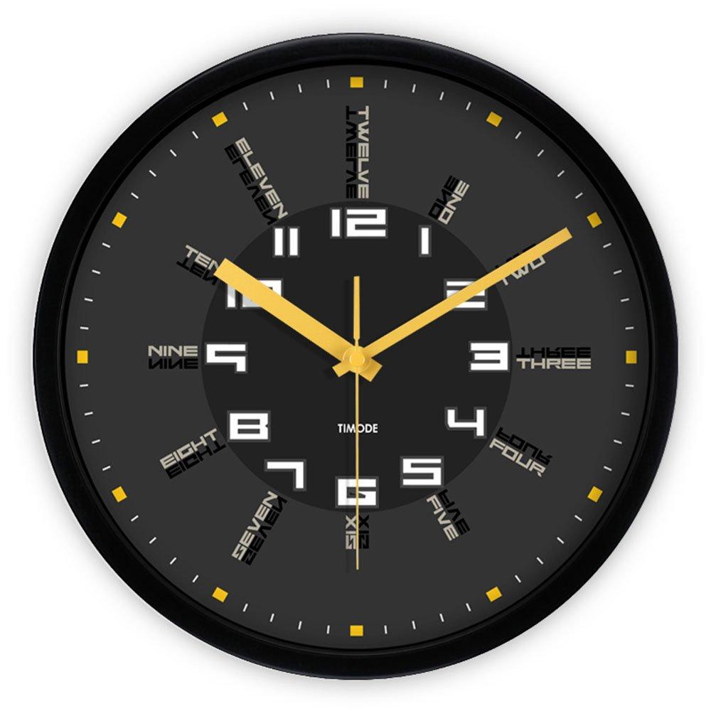 Unbekannt LXF Wanduhr Wanduhr Mute Englisch Digital Postmodern Quarz Uhr Wohnzimmer Grau Trend Europäischen Stil Wanduhr Wanduhren (Farbe : Schwarz, größe : 12inch)
