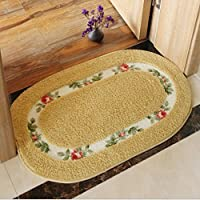 JIAN YA NA Non-Slip Bath Rug Oval Bath Shower Mat Absorbent Rose Pattern Floral Small Rugs Toilet Bathroom Kitchen Doormats (16x 24(40x60cm), Gold)