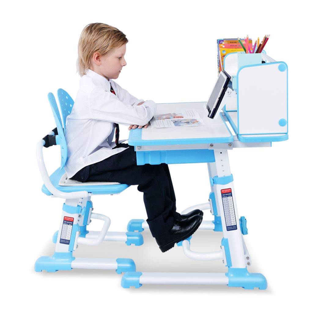 Xiuxiushop Der Schreibtischstudententisch und -Stuhl des Kindes, der gesetzten anhebenden Studentenschreibtischkindschreibtisch sitzt, sitzen den Lagekorrekturstuhl, der für 3-18 Jahre alt ist Blau 805876CM(312330IN)