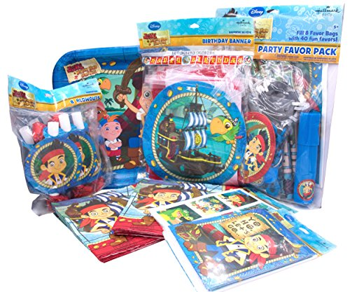 [Jake and The Never Land Pirates Party Supplies. Paper Plates, Paper Napkins, Invitations Cards, A Happy Birthday Banner Favor Pack (48pcs), Stickers and Blowouts (7,] (Jack The Neverland Pirate Costumes)
