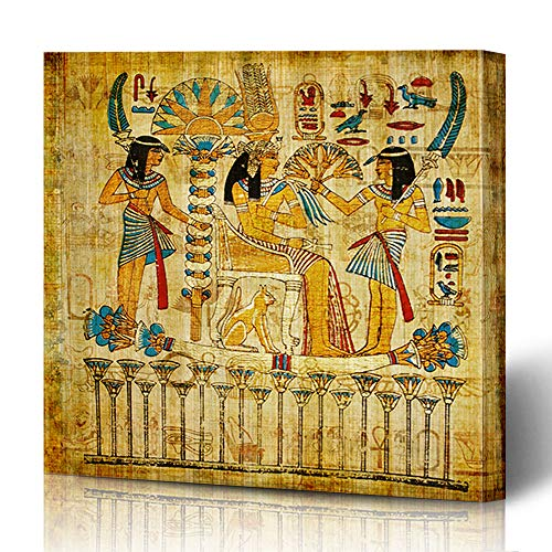 Ahawoso Canvas Prints Wall Art 12x12 Inches Grunge Brown Ancient Old Egyptian Papyrus Egypt Pharaoh Vintage Yellow Painting Wall History Decor for Living Room Office Bedroom