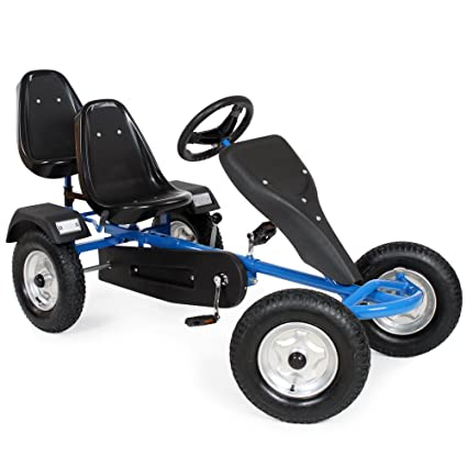 TecTake Go Kart Gokart Pedal 2 Seater Outdoor Toy Racing Fun Cart Different Colours Blue Amazoncouk Toys Games