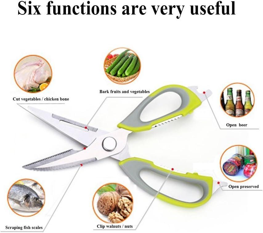 Yihao Ciseaux De Cuisine Inox Ciseaux De Cuisine Multifunction Avec Aimant Lame Sharp Poignées En Doux Pour La Volaille Les Légumes Plantes