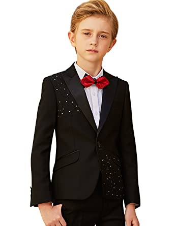 Amazon Black Boy Suit Slim Fit Childrens Piano Costumes Solid