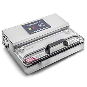 "Avid Armor Vacuum Sealer Machine - A100 Stainless Construction, Clear Lid, Commercial Double Piston Pump Heavy Duty 12"" Wide Seal Bar Built in Cooling Fan Includes 30 Pre-cut Bags and Accessory Hose"