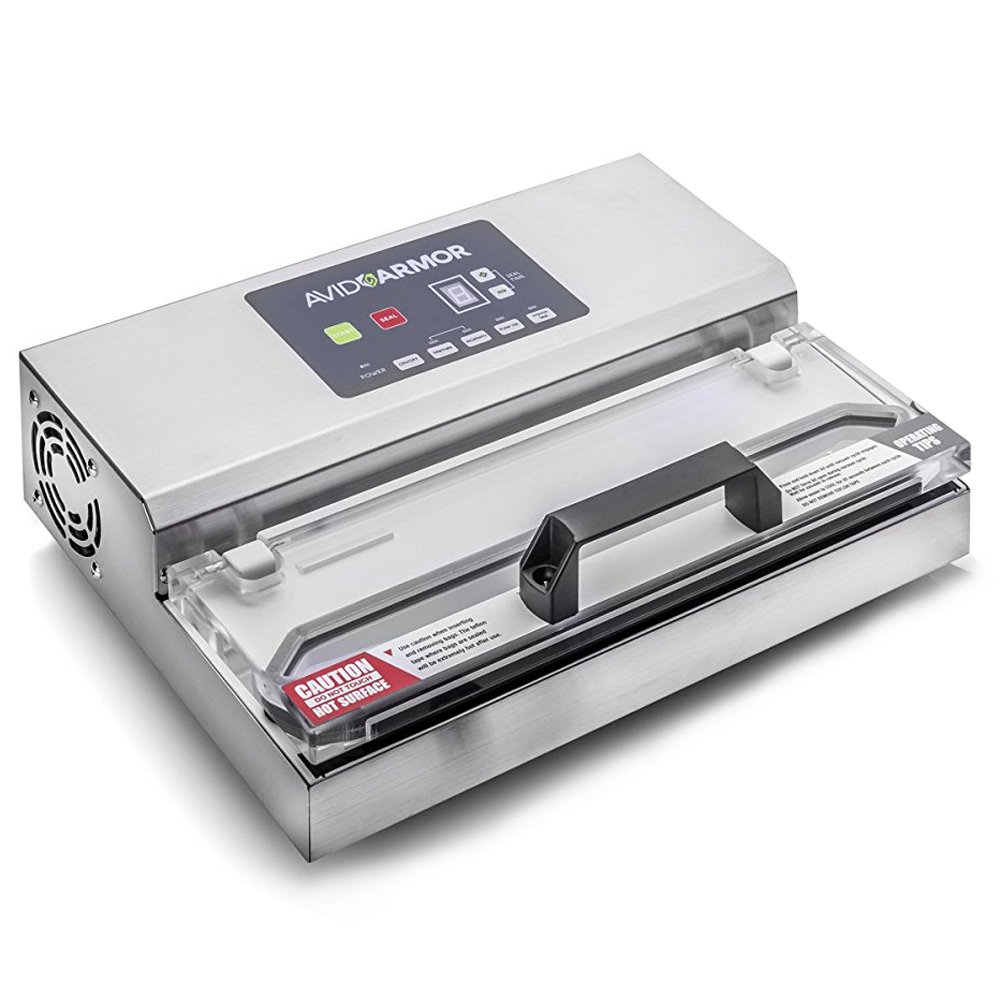Avid Armor Vacuum Sealer Machine - A100 Stainless Construction, Clear Lid, Commercial Double Piston Pump Heavy Duty 12'' Wide Seal Bar Built in Cooling Fan Includes 30 Pre-cut Bags and Accessory Hose by Avid Armor (Image #1)