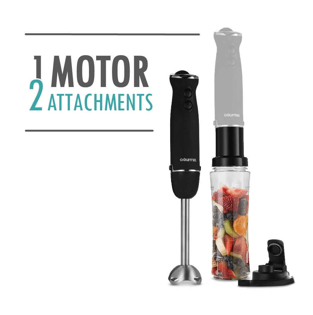 Gourmia GBJ190 Handheld Immersion Blender & Personal Smoothie Maker - Six Speed - Make Fruit Drinks & Shakes Directly In The Bottle (included) with Lid