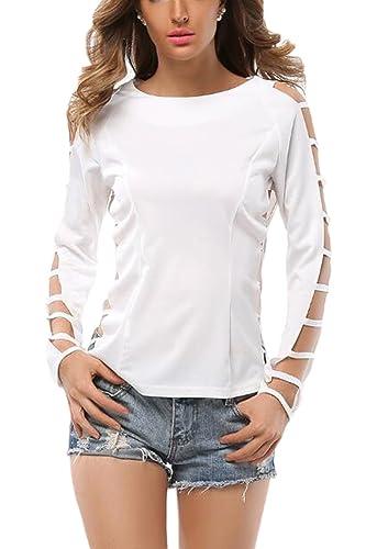 Mujeres Hueco Fuera De Cremallera De La Espalda Cuello Barco Blusa De Manga Larga T – Shirt