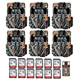 Six Browning Dark Ops Pro XD Dual Lens 24MP 1080p Trail Cameras with Twelve 16GB Cards and Focus USB Reader