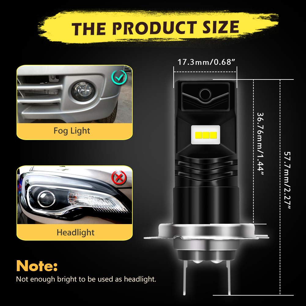 3 Year Warranty KaTur PSX24W Led Fog Light Bulb Extremely Bright 1600 Lumens Max 80W High Power CSP Chips 6500K Xenon White Replace for Fog Light or Daytime Running Light DRL
