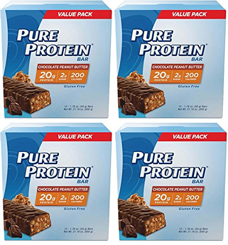Pure Protein Chocolate Peanut Butter Bar, 48 Count, 1.76 ounce by Pure Protein