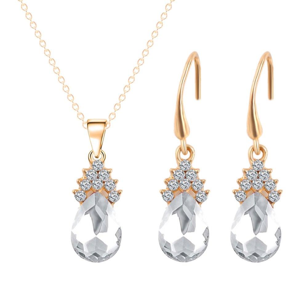 lumanuby 1Set Ohrring Halskette Charm Kristall Mode Perle Anhänger Schmuck Dangler Pearl Ohrstecker Paar Choker Design für Party, Legierung, silber, M