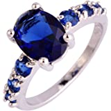 lingmei 7mm*9mm Oval & Round Cut CZ Created Sapphire Blue Women's Ring US Size