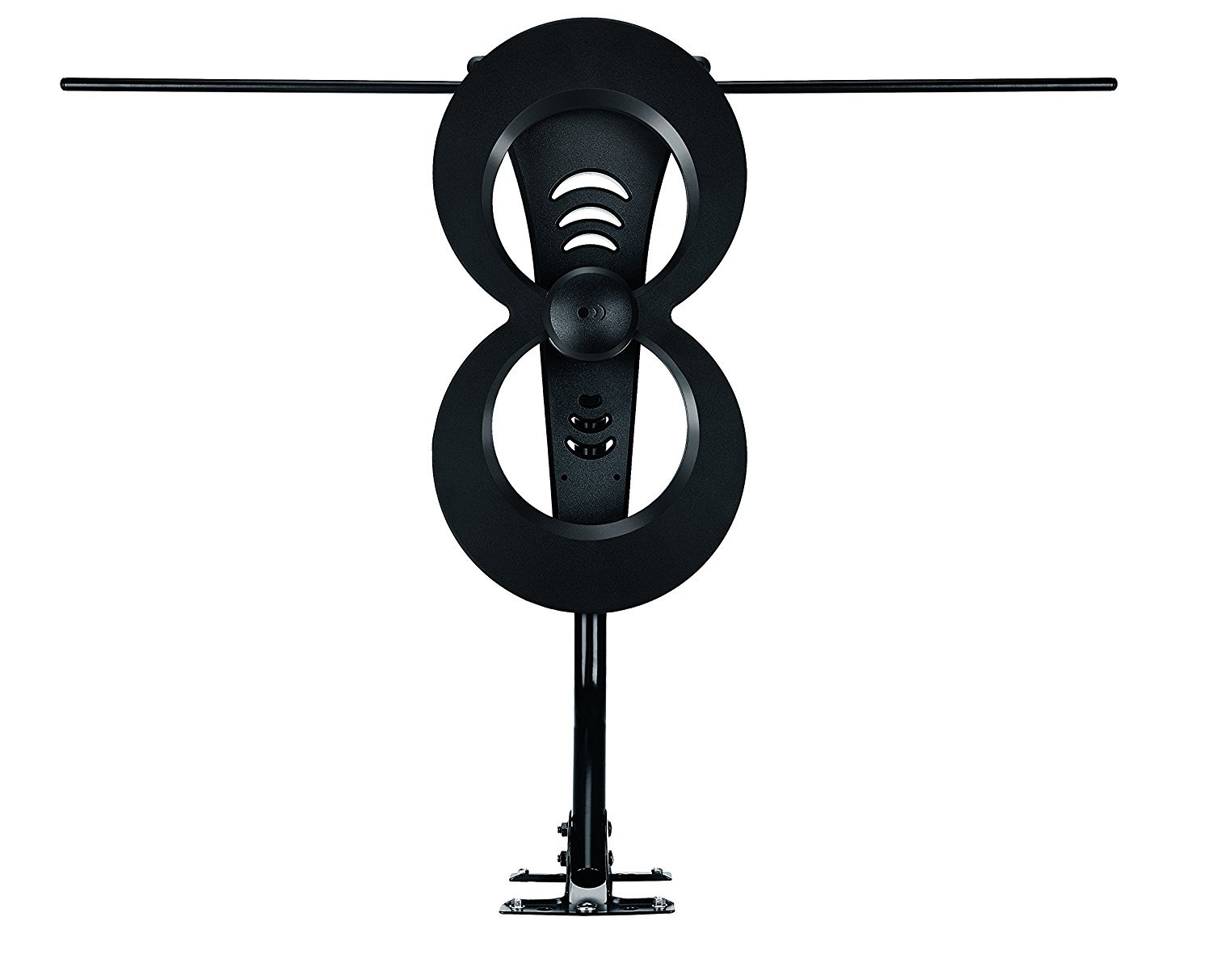 ClearStream 2MAX TV Antenna, 60+ Mile Range, Multi-Directional, Indoor, Attic, Outdoor, 20-inch Mast with Pivoting Base, All-Weather Mounting Hardware, 4K Ready, Black