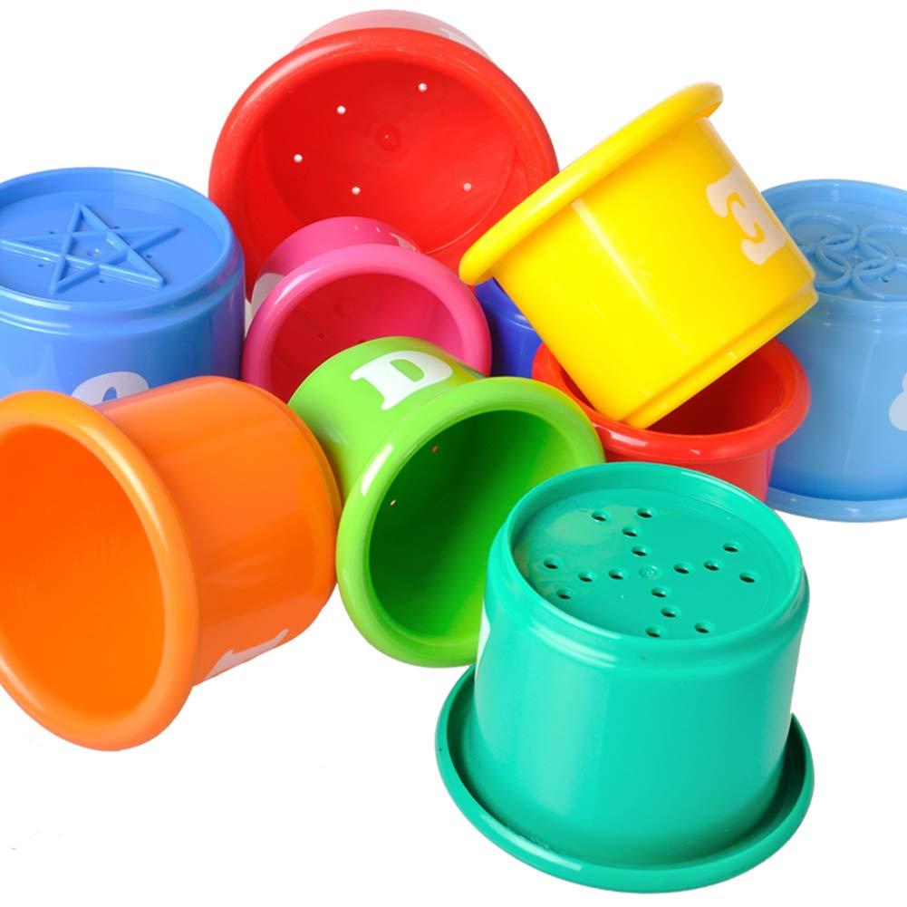 9 pcs b/éb/é Ours Jouets /éducatifs Stacking Cups Nesting Jeux de Construction Stack Up Coupes avec Chiffres et Lettres Cadeaux pour b/éb/é