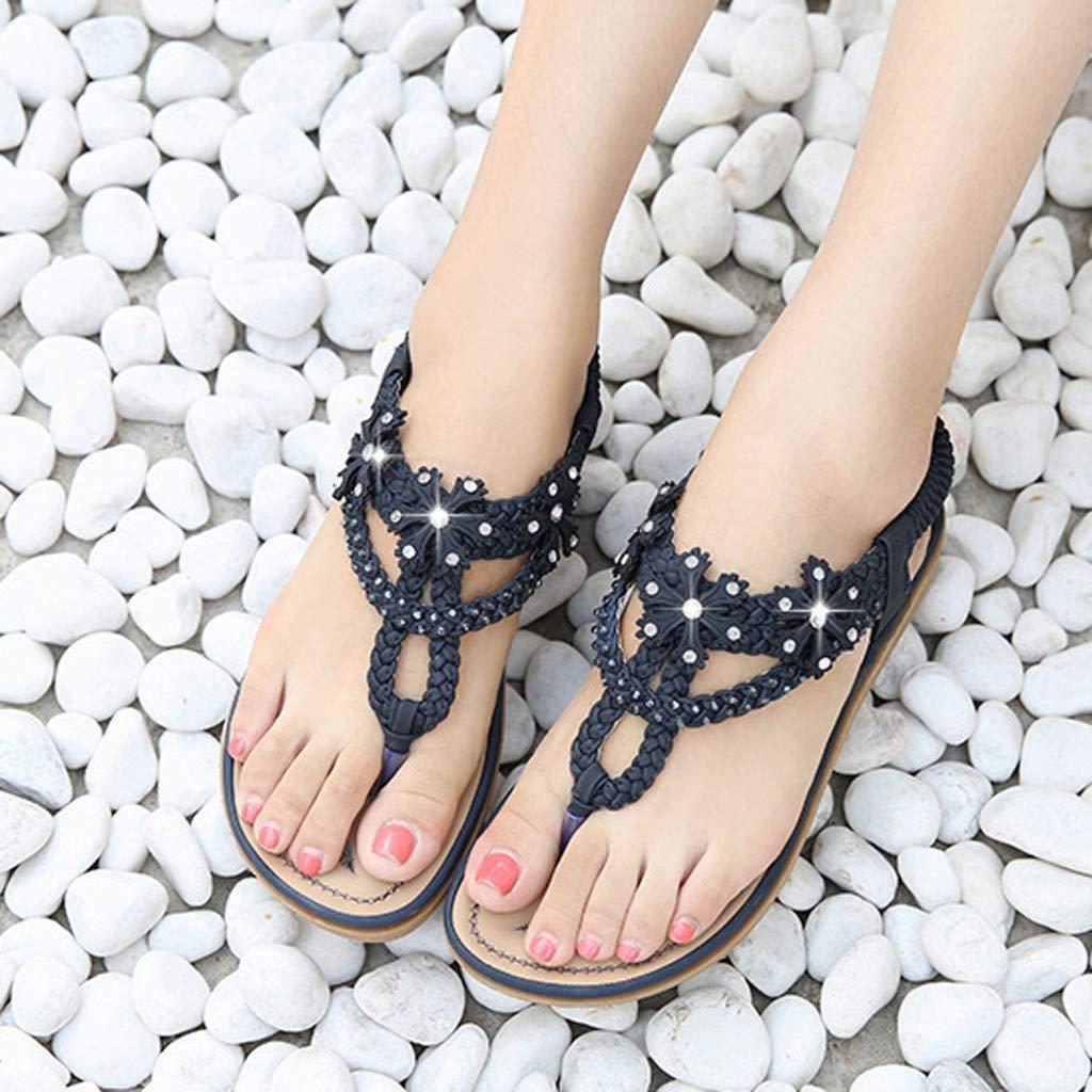 Sandales Femme Plates Compens/éEs Orthop/éDiques Talons Mode D/éT/é en Strass Chaussures Plage D/éContract/éEs