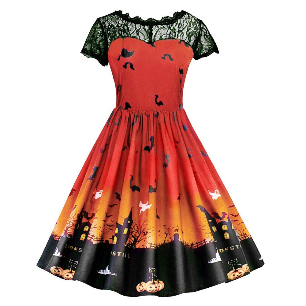 HHei_K Womens Happy Halloween Vintage See-Through Lace Patchwork Pumpkin Devil Print Halloween Party Swing Dress