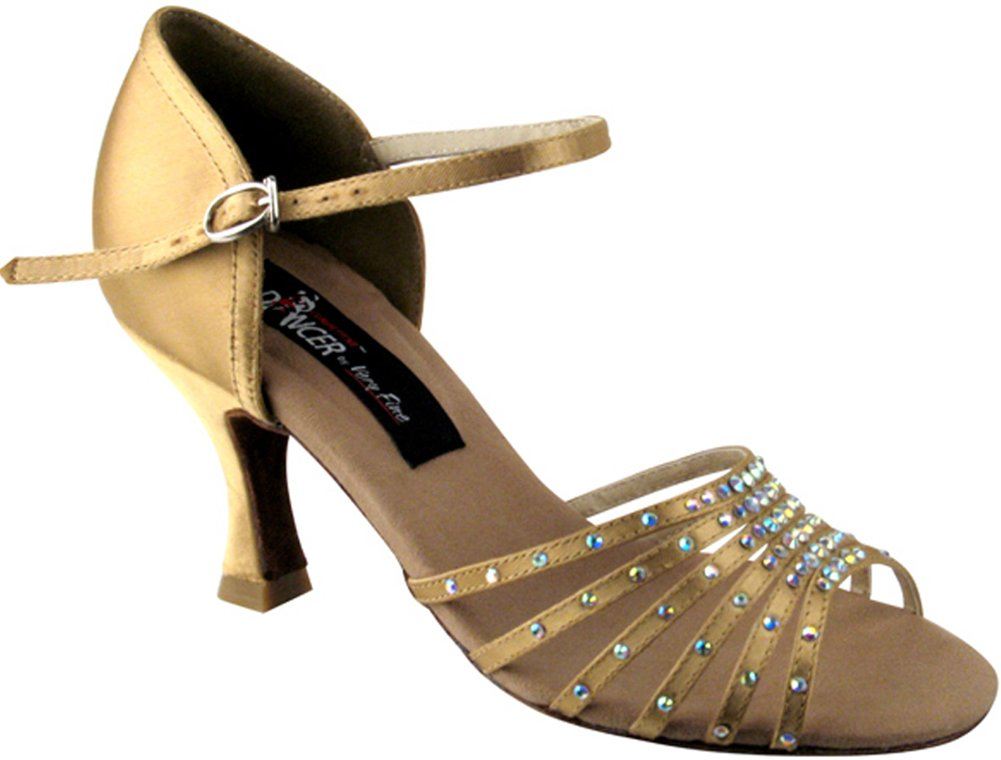 VFS COMPETITIVE DANCER SERIES 2803 WITH CRYSTALS 2.5'' OR 3'' HEEL (2 COLORS: BLACK SATIN, TAN SATIN) (10-3'', TAN SATIN)