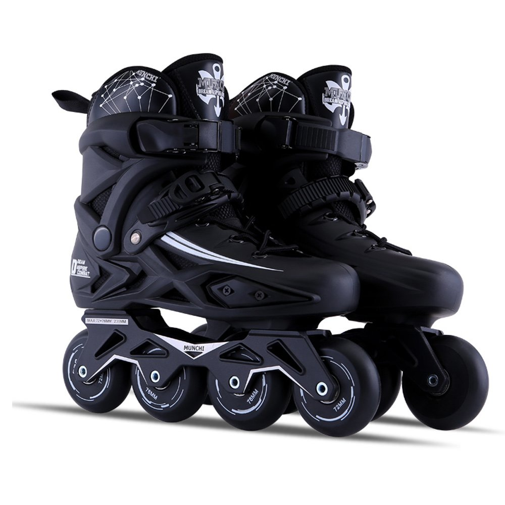 Sunkini Adults Men's Professional Inline Skate Shoes Freestyle Women Skating Boots Outdoor Roller Skates with Protector Gear Black (Size : 42) by Sunkini (Image #1)