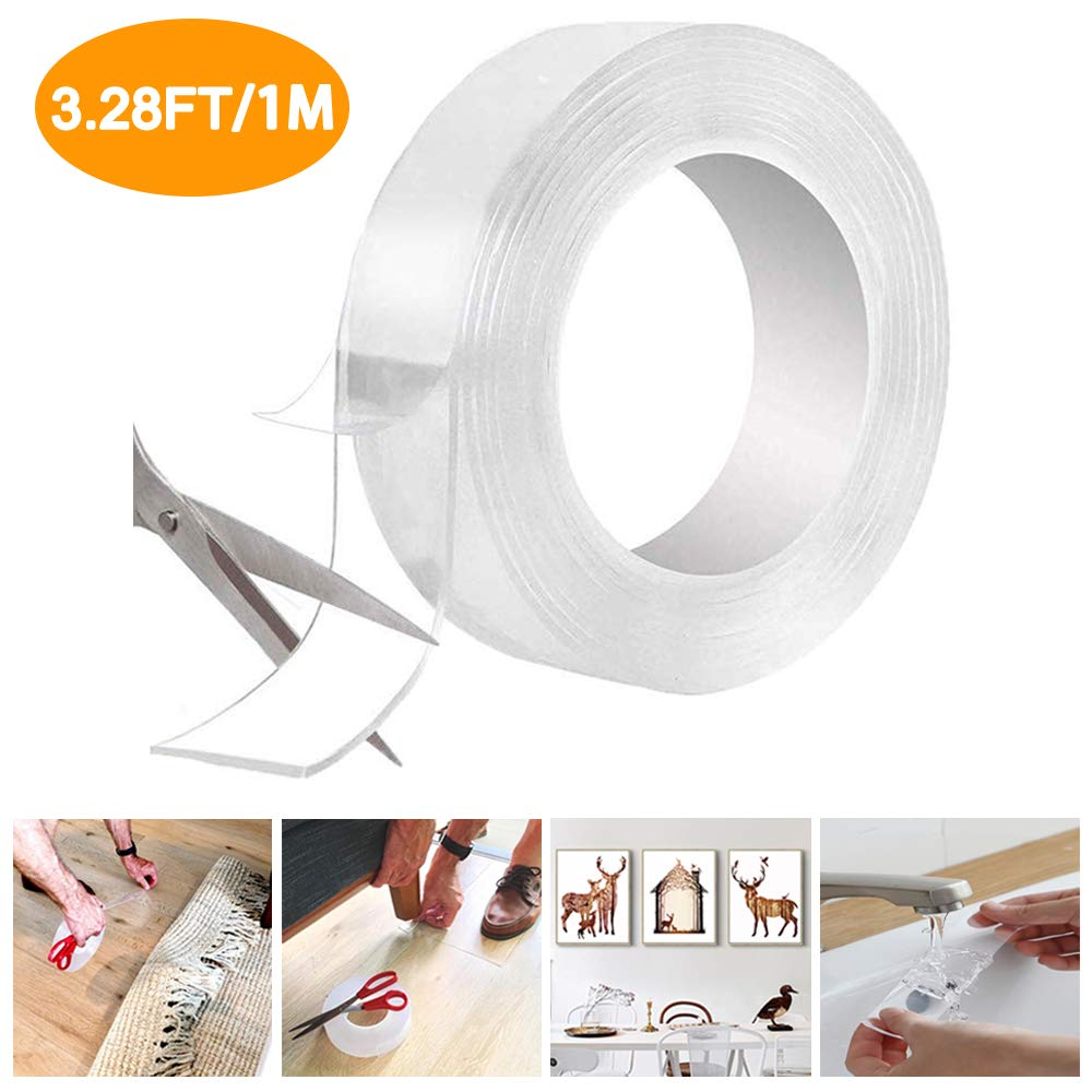 Washable Double Sided Adhesive Tape, 1M/3.28FT Strong Traceless Transparent Gel Tape, Removable Reusable Nano Magic Clear Tape for Fix Carpets, Pictures, or Home Office Wall Decor