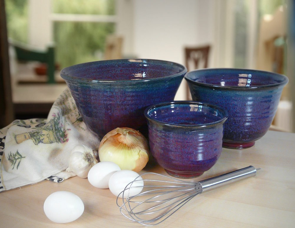 Plum Perfect 3-Piece Large Nesting Mixing Bowl Set, American Made Stoneware Pottery by Modern Artisans (Image #2)