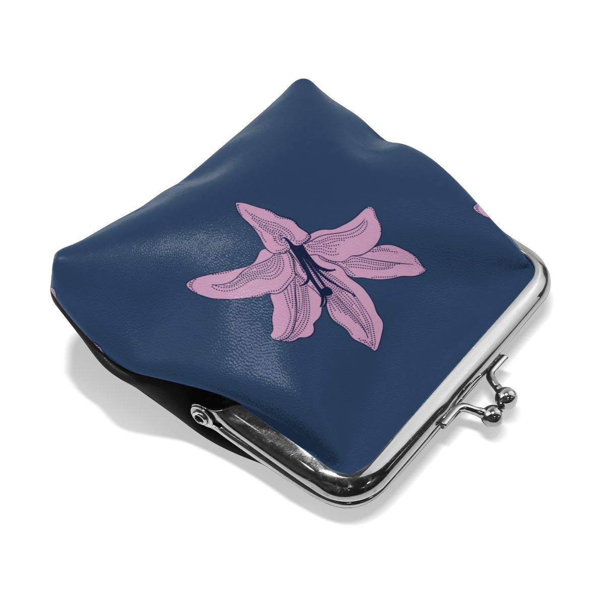 Personality Metal Lock Purse Architd Customized Cute Retro Coin Purse Girl Kiss And Buckle Change Purse Ladys HandbagPurple Lily