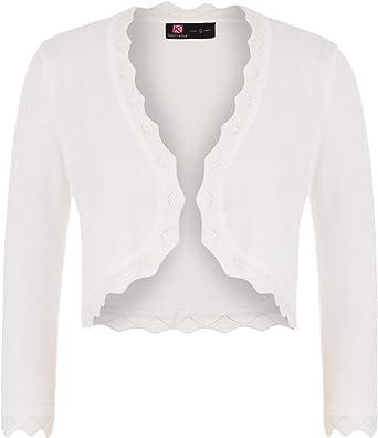 KANCY KOLE Womens Classic Knit Bolero Shrug 3//4 Sleeve Open Front Cropped Cardigan Sweater S-XXL