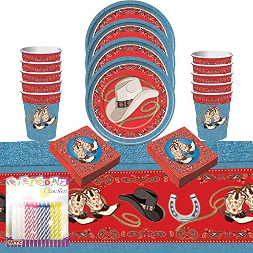 Western Party Supplies Pack Serves 16: Dinner Plates, Luncheon Napkins Cups and Table Cover with Birthday Candles (Bundle for 16)
