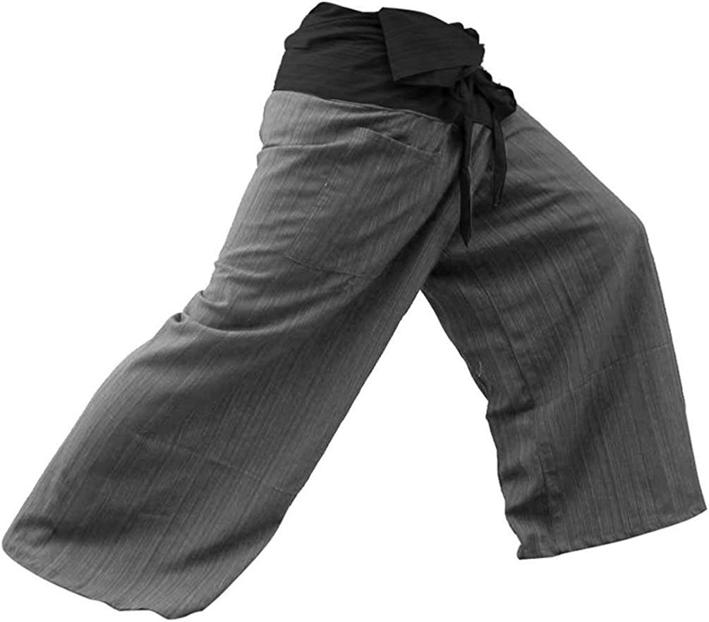 !! LovelyThaiMart 2 Tone Thai Fisherman Pants Yoga Trousers Free Size Cotton 61PS3cPKofL