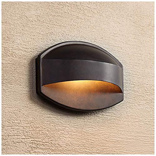 "Xane Modern Outdoor Wall Light Fixture Halogen Bronze 11"" Wide Eyebrow Dark Sky Design for Exterior House Porch Patio Deck - Possini Euro Design"