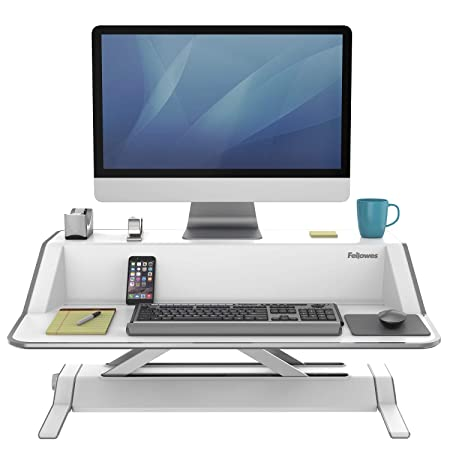 Fellowes Lotus Sit-Stand Workstation Desk, Adjustable, Pre-Assembled, White