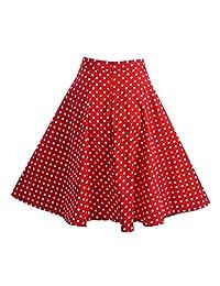 Filfeel Women's Dot Print A-Shaped High Waist Flare Skirt Black Red Pleated Skirt