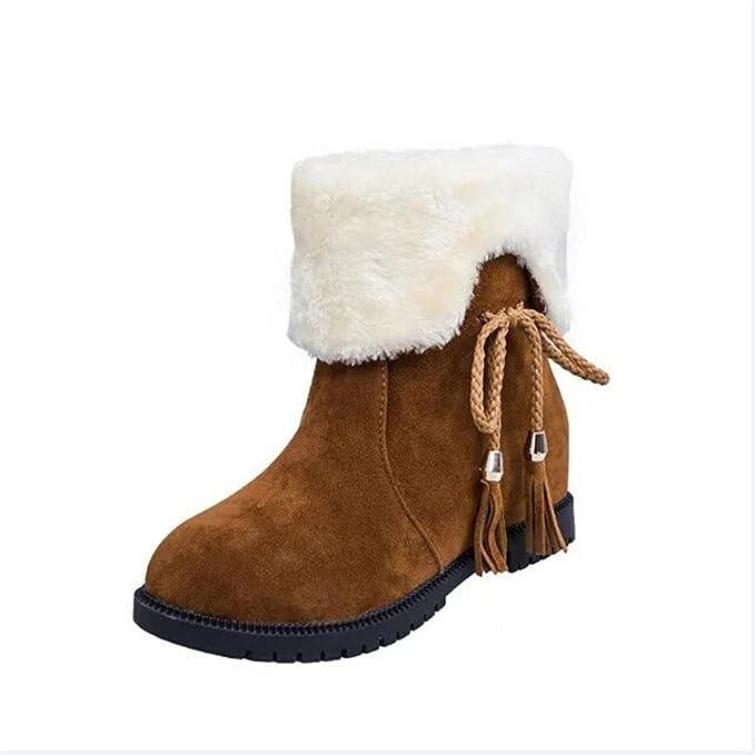 Damen Schuhe, Dasongff Schneestiefel Winter Stiefeletten Damen Stiefel  Schuhe Heels Winterstiefel Mode Schuhe Boots Fransen und Samtstiefel mit ... b67814e1ae