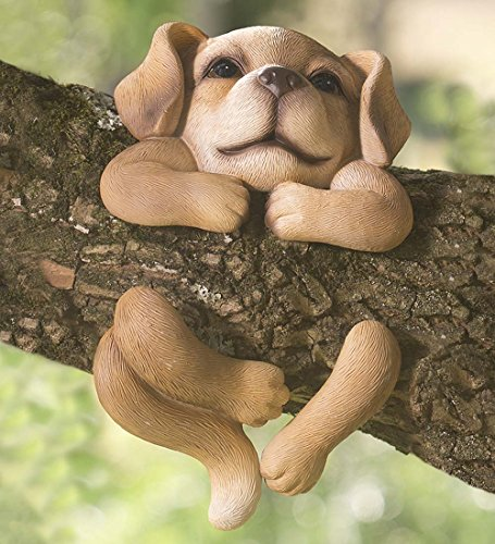 Dog Tree Hugger Outdoor Resin Sculpture Yard Decor Whimsical Animal Garden Art 6 W x 2 D x 10 H