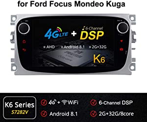XBRMMM Car Stereo Radio in Dash Head Unit Navigation for Ford Focus S-MAX Mondeo C-MAX Galaxy, 7 Inch Touchscreen 2 Din DVD Player Bluetooth with Rear View Camera, 64GB SD Card,3.5mm Mic