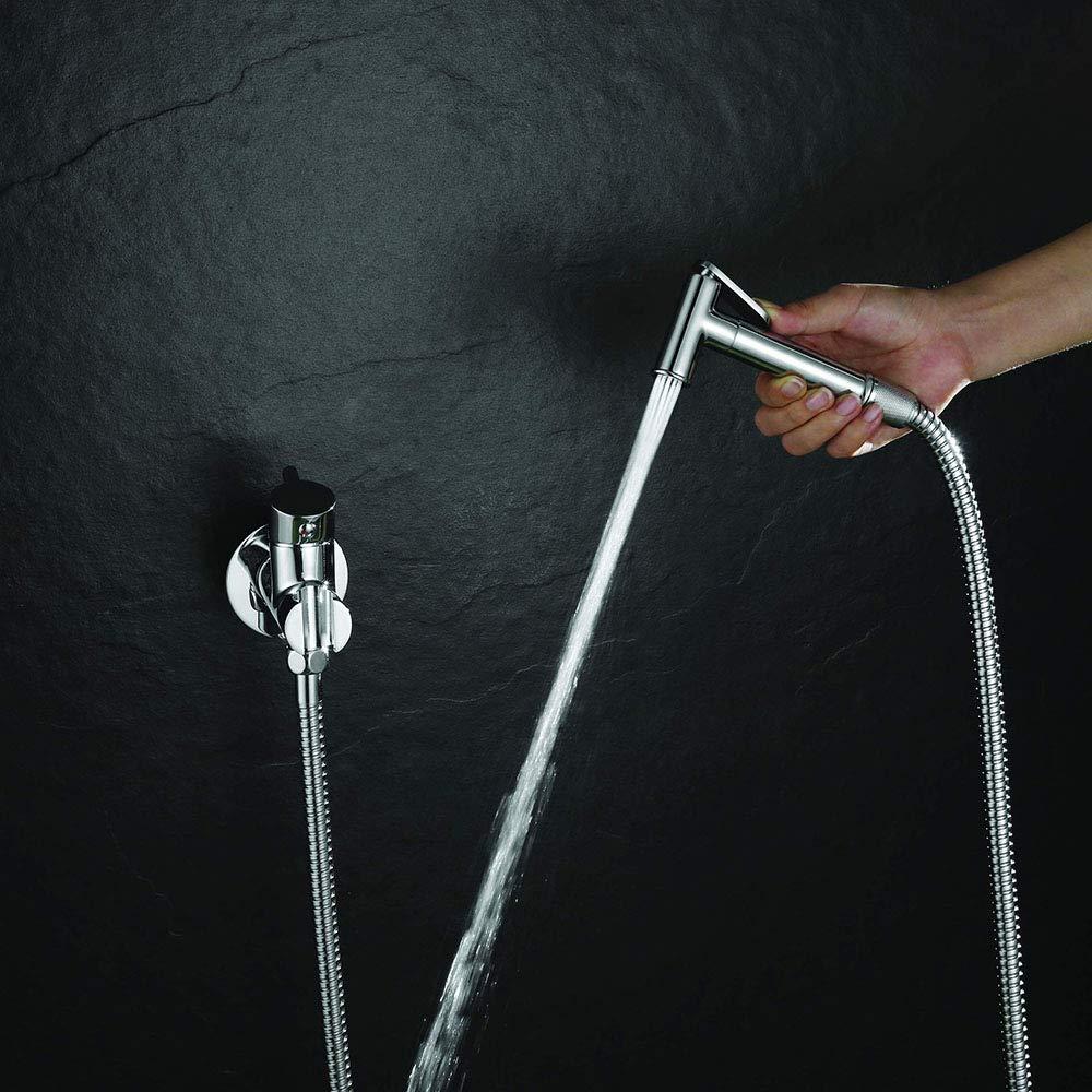 fr/ía y Caliente Grifo Redondo para Instalar Junto al WC Cromo Brillo Ahorrando Espacio y es /útil para la Limpieza del Sanitario Kibath L473551 Hidroescobilla Higiene Intima 2 Aguas