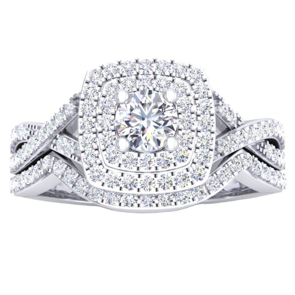 1.40 Carat (Ctw) 10K White Gold Round Cut Cubic Zirconia Ladies Halo Engagement Ring Set (Size 6) by DazzlingRock Collection (Image #2)