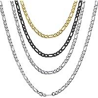 ChainsHouse Unisex Collar Figaro Italiano Cadenas de Acero para Colgantes Collares 4/6/9/13mm de Ancho 41-76cm de Largo…