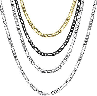 ChainsHouse Unisex Collar Figaro Italiano Cadenas de Acero para Colgantes Collares 4//6//9//13mm de Ancho 41-76cm de Largo Platino Negro Dorado