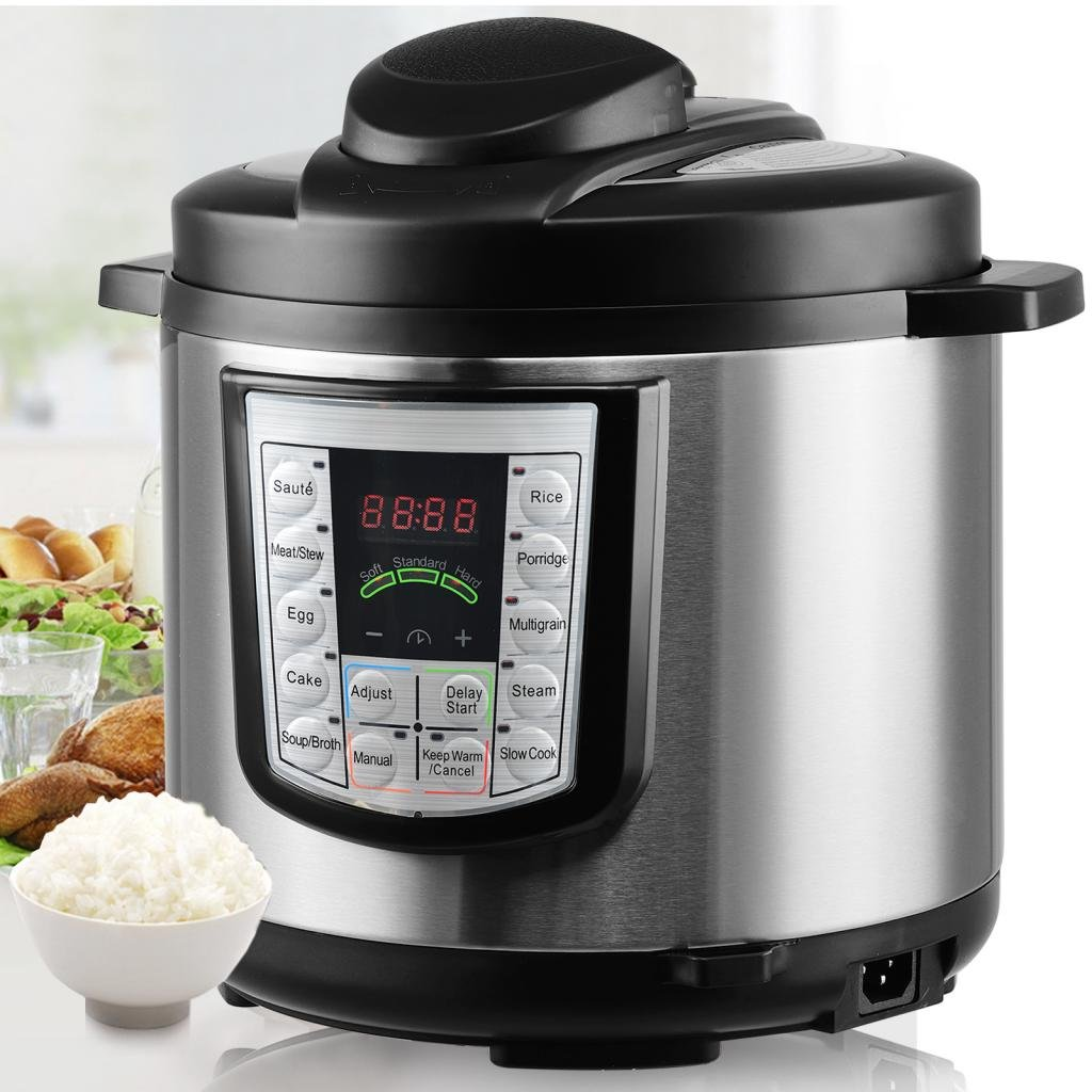 6QT, 14-in-1 Multi-Functional Smart Programmable Digital Pressure Cooker, Slow Cooker,Egg Cooker, Cake Maker, Sauté, Steamer, Warmer, and Sterilizer, Countertop Pressure Cookers w/Gift Cooking Sets