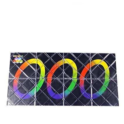 8 Panels 3 Rings Black Base Twisty Cube Puzzle,Durable with Vivid Color,Smooth