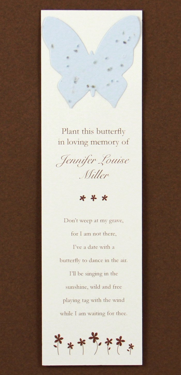 Personalized Butterfly Memorial Bookmarks with Seeds (Set of 25) Plantable Funeral Cards (Blue)