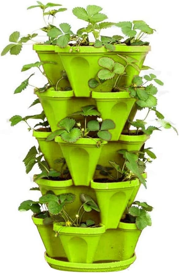 Stackable Flower Tower Multi-Layer Vertical Plant Pot Planter Four Petal Plastic with Tray for Strawberry Vegetable Garden Balcony Green for Outdoor Garden